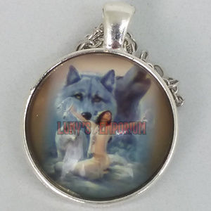 Native american woman & spirit wolf glass pendant